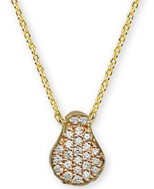 "Cubic Zirconia Teardrop 18"" Pendant Necklace in 18k Gold-Plated Sterling Silver"