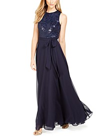 Sequined & Chiffon Gown