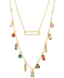 "Gold-Tone Pavé Bar & Multicolor Rhinestone Layered Necklace, 16"" + 3"" extender"