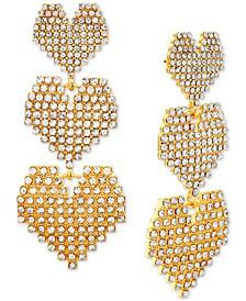 Gold-Tone Rhinestone Graduated Heart Triple Drop Earrings