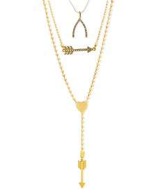 Gold-Tone Pavé Wishbone & Arrow Convertible Layered Lariat Necklace