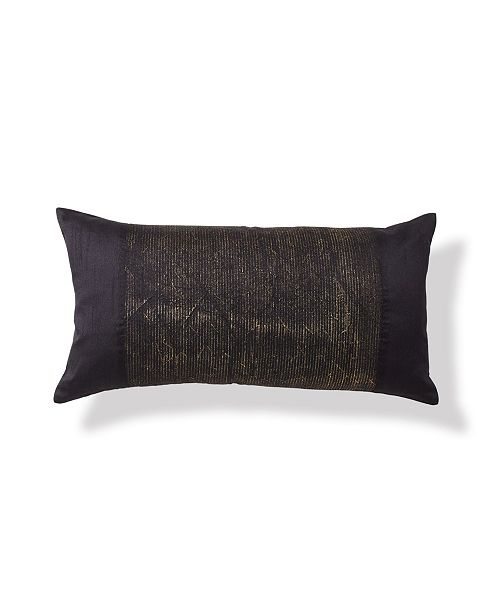 "Donna Karan Onyx 11"" x 22"" Metallic & Embroidered Decorative Pillow"