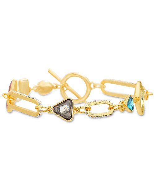 Steve Madden Gold-Tone Multicolor Rhinestone Large Link Bracelet