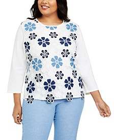 Plus Size Pearls of Wisdom Lace Flower Top