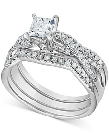 Diamond 3-Pc. Princess Bridal Set (1 ct. t.w.) in 14k White Gold