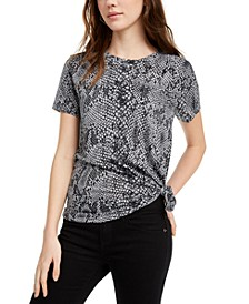 Juniors' Snake-Print T-Shirt