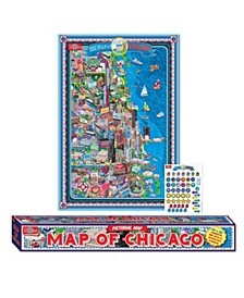 Map of Chicago, Laminated Poster with Stickers