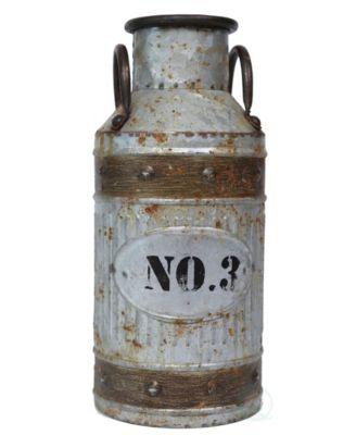 Galvanized Metal Rustic Milk Can, Small