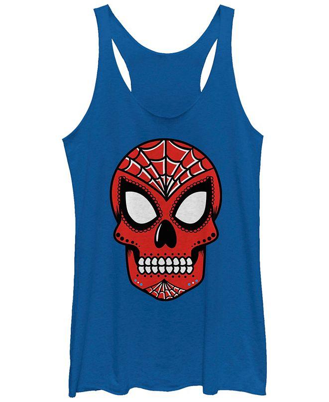 Fifth Sun Marvel Women's Spider Man Sugar Skull Tri-Blend Tank Top