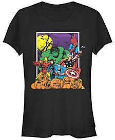 Marvel Women's Heroes Pumpkin Patch Classic Retro Short Sleeve Tee Shirt