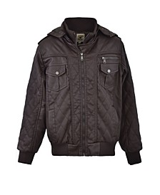 Big Boys Zip Front Vegan Leather Diamond Quilted Design Bomber with Detachable Hood