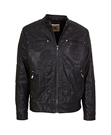 Big Boys Zip Front Vegan Leather Updated Moto with Faux Sherpa Body Lining