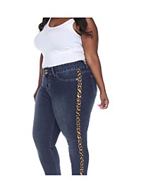 Plus Size Super Stretch Denim with Cheetah Pannel