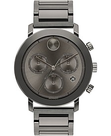 Men's Swiss Chronograph Bold Evolution Gray Ion-Plated Steel Bracelet Watch 42mm, First at Macy's