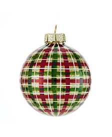 80MM Red and Green Plaid Glass Ball Ornaments, 6 Piece Box
