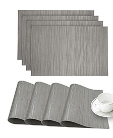 "Faux Leather Forest Slip Resistant Suede Backing Embossed 3D Surface Luxury 12"" x 18"" Place Mats - Set of 4"