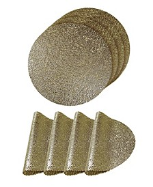 Reversible Metallic Lacey Place Mats Slip Resistant Dining Table Indoor Outdoor Placemats - Set of 4
