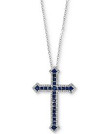 "Sapphire (1-1/3 ct. t.w.) & Diamond (1/3 ct. t.w.) Cross 18"" Pendant Necklace in 14k White Gold"