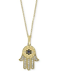 EFFY® Sapphire (5/8 ct. t.w.) and Diamond (1/6 ct. t.w.) Hamsa Hand Pendant Necklace in 14k Gold