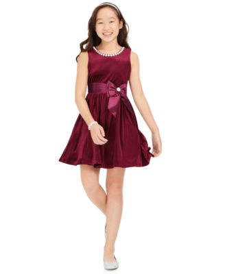 Big Girls Embellished Velvet Dress