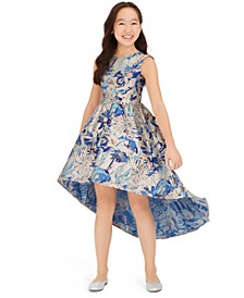 Big Girls Metallic Jacquard High-Low Dress