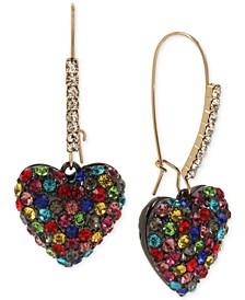 Two-Tone Rainbow Heart Drop Earrings