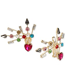Gold-Tone Multicolor Crystal & Imitation Pearl Spray Clip-On Front-and-Back Earrings