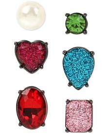 Hematite-Tone 6-Pc. Set Multicolor Crystal & Imitation Pearl Mismatch Stud Earrings