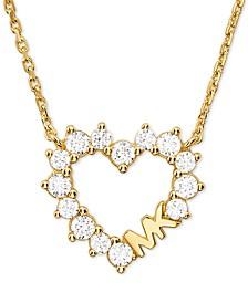 "Love Pavé Crystal Open Heart 18"" Pendant Necklace"