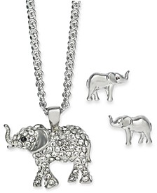 """Silver-Tone Crystal Elephant Pendant Necklace & Stud Earrings Boxed Set, 17"""" + 2"""" extender, Created for Macy's"""
