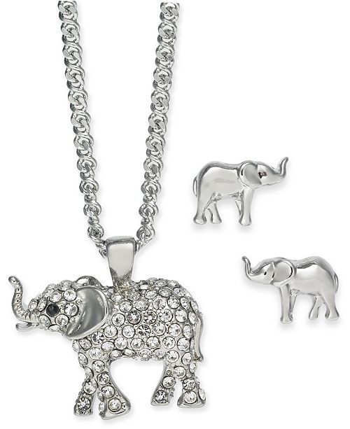 "Charter Club Silver-Tone Crystal Elephant Pendant Necklace & Stud Earrings Boxed Set, 17"" + 2"" extender, Created For Macy's"
