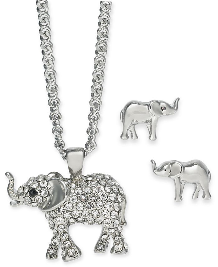 """Charter Club - Silver-Tone Crystal Elephant Pendant Necklace & Stud Earrings Boxed Set, 17"""" + 2"""" extender"""