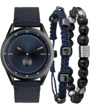 I.n.c. Men's Faux Blue Leather Strap Watch 33mm Gift Set, Created for Macy's