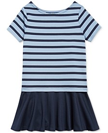 Toddler Girls Striped Stretch Ponte Dress