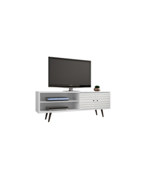 """Manhattan Comfort Liberty 62.99"""" Mid Century - Modern Tv Stand With 3 Shelves And 2 Doors In White"""