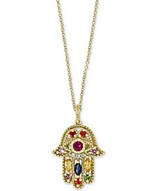 "EFFY® Multi-Gemstone (5/8 ct. t.w.) & Diamond Accent Hamsa Hand 18"" Pendant Necklace in 14k Gold"