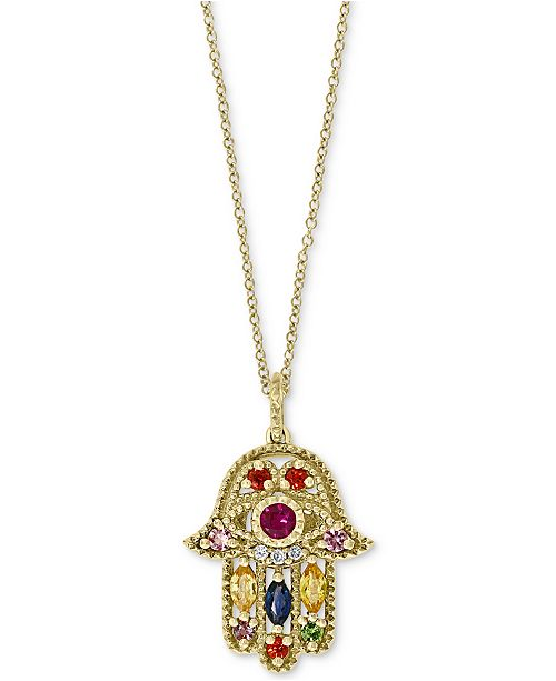 "EFFY Collection EFFY® Multi-Gemstone (5/8 ct. t.w.) & Diamond Accent Hamsa Hand 18"" Pendant Necklace in 14k Gold"