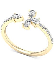 Diamond Pear-Cut Cuff Statement Ring (1/2 ct. t.w.) in 14k Gold