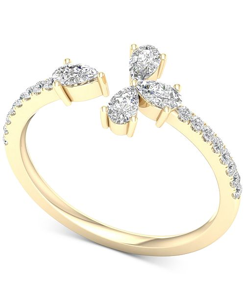 Macy's Diamond Pear-Cut Cuff Statement Ring (1/2 ct. t.w.) in 14k Gold