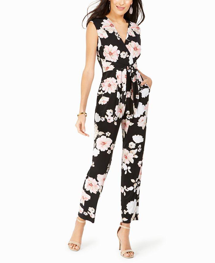 Jessica Howard - Surplice Floral-Print Jumpsuit