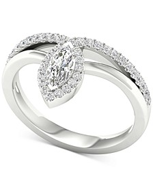Diamond Marquise Statement Ring (1/2 ct. t.w.) in 14k White Gold