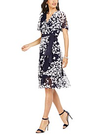 Petite Belted Printed Midi Dress