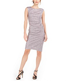 Petite Metallic Pleated Sheath Dress