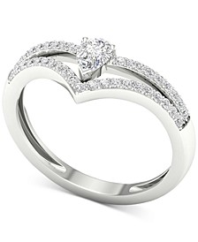 Diamond Pear-Cut V Statement Ring (1/3 ct t.w.) in 14k White Gold