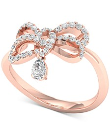 Diamond Pear Bow Ring (1/3 ct. t.w.) in 10k Rose Gold