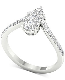 Diamond Cluster Chevron Statement Ring (1 ct. t.w.) in 14k White Gold