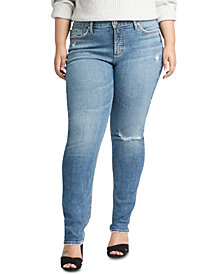 Silver Jeans Co. Plus Size Avery Ripped Slim-Leg Jeans