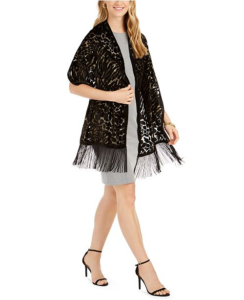 INC International Concepts INC Animal-Print Shine Velvet Wrap, Created For Macy's