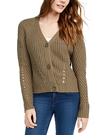 Juniors' Eyelet Cardigan Sweater