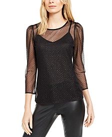 INC Glitter-Dot Mesh Top, Created for Macy's